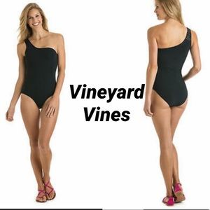 Vineyard Vines One Shoulder One Piece Bathing Suit